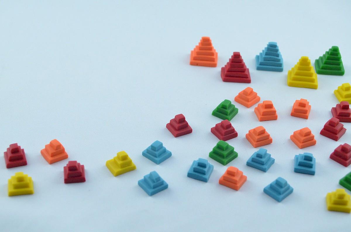 Tzolk/'in board game 3D printed ziggurat score track markers
