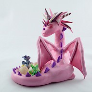Pink mama dragon with eggs
