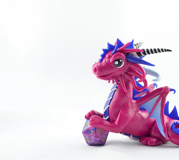 pink-blue dice dragon